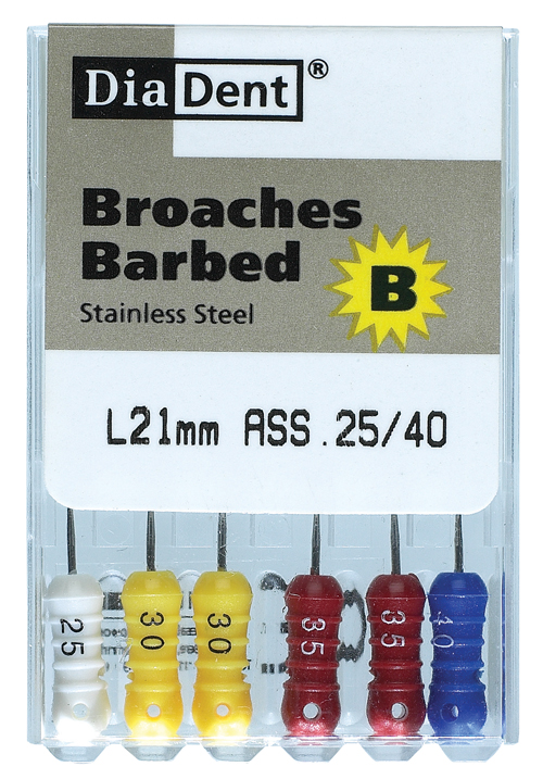 Diadent SS Barbed Broaches 6pk